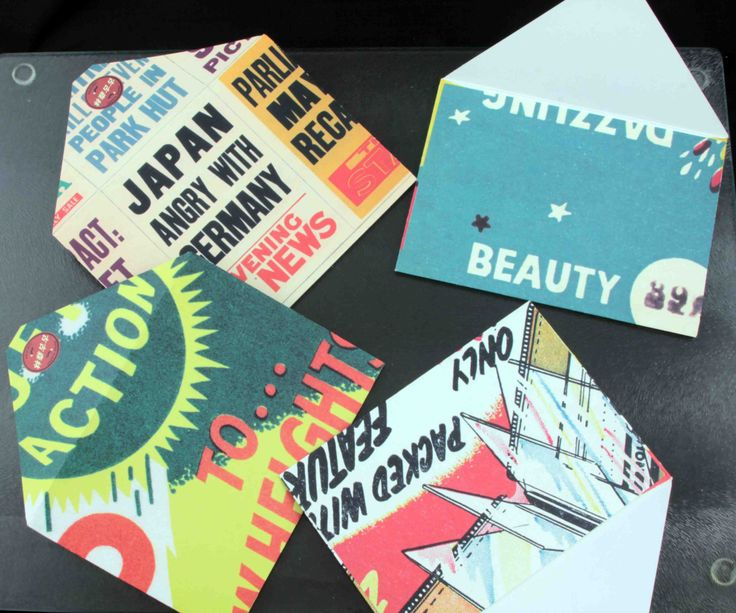 Vintage-style Bright Retro 1940's Cartoon Pack of 4 Envelopes Depicting News…