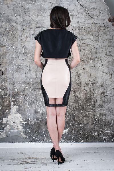 Spódnica skórzana z wysokim stanem - MagdalenaMol - Spódnice ołówkowe