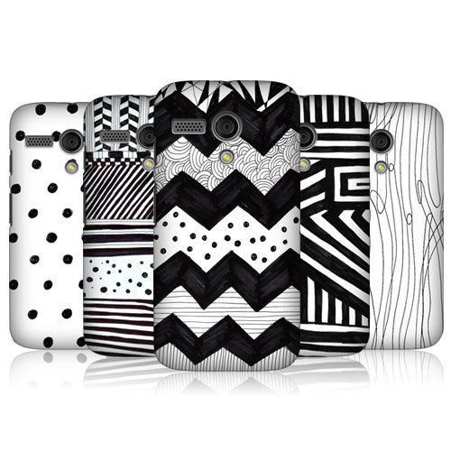 HEAD CASE BNW DOODLE PATTERNS HARD BACK CASE COVER FOR MOTOROLA MOTO G