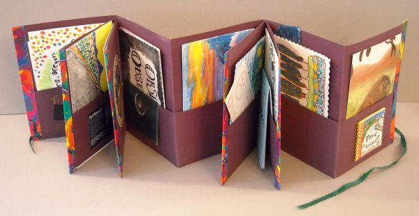KAREN ARP-SANDEL Traveling Route 20 Accordion fold book with pockets, mixed media.