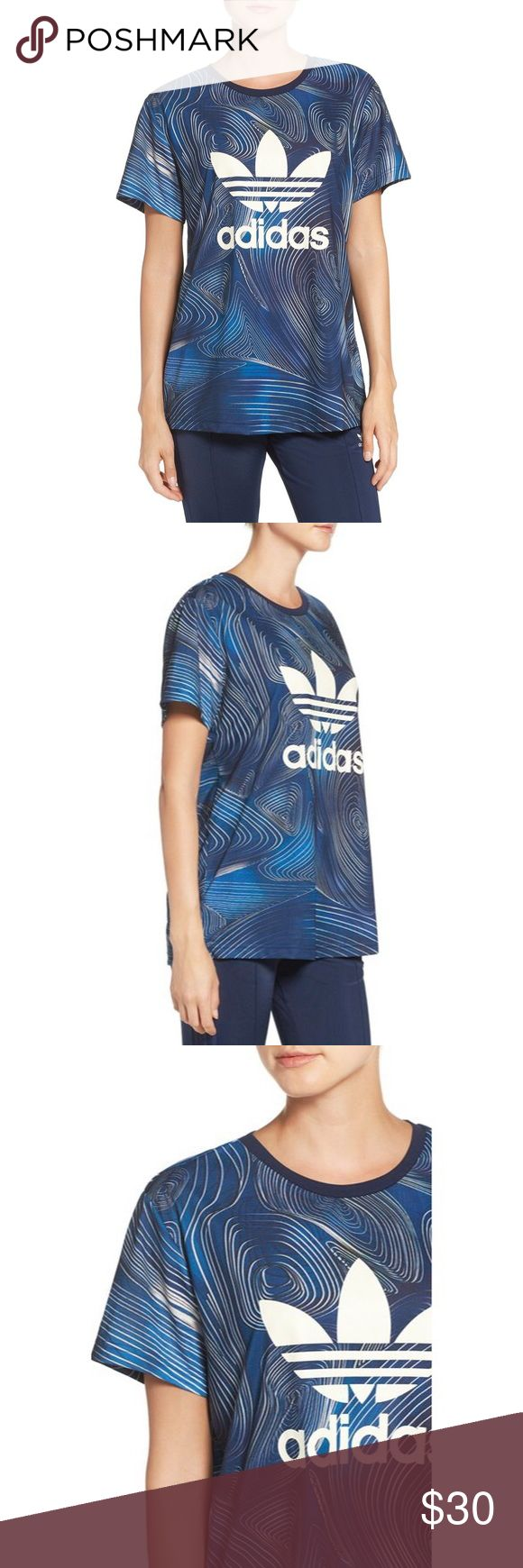 """NWT Adidas Originals 'BG' Logo Jersey Tee Athleisure meets street-style cool in this soft, boxy jersey tee swirling in eclectic designs with adidas' logo and trefoil emblazoned across the front. 28"""" length (size Medium) Crewneck Short sleeves 100% polyester Machine wash cold, dry flat Adidas Tops"""