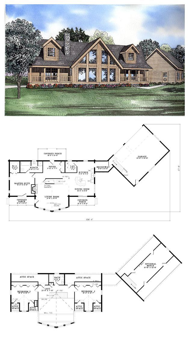 Log House Plan 61144 Total Living Area 2521 Sq Ft 3 Bedrooms 2 Bathrooms The Full Window View Add Log Home Plans Log Home Floor Plans Garage House Plans