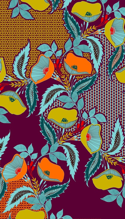 Retro colours from Marie Clare Bridges stylised textiles