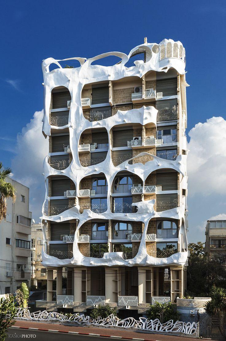 "The ""Crazy House""  Gaudi style building in Tel Aviv, was built in 1985  architect: Leon Gaignebet  photo by Kaśka Sikora  #TelAviv #architecture #Israel #Gaudi #GaudiStyle     #Style #building #TelAviv #Israel     #TheCrazyHouse  #AntoniGaudi #photography #Photos      #Architecture  #Architecturephotography         #Touristattractionintelaviv #realestate     #building  #Extraordinary   #ExtraordinaryProperty     #penthouseinTelAviv #KatarzynaSikora #realestate #TelAvivrealestate #KaśkaSikora"