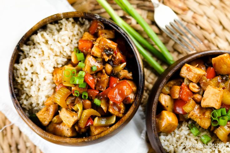 Healthy Kung Pao Chicken - Slender Kitchen. Works for Clean Eating, Gluten Free, Paleo and Weight Watchers® diets. 303 Calories.