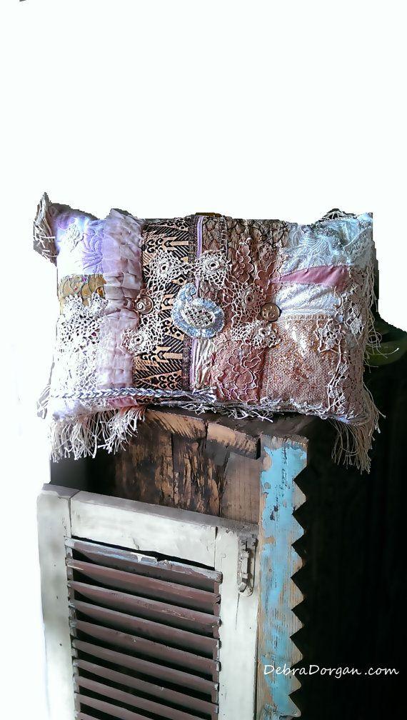 Boho Chic kussen, Patchwork, goud, zilver, Vintage Lace, Boheemse, Gypsy, Decor…