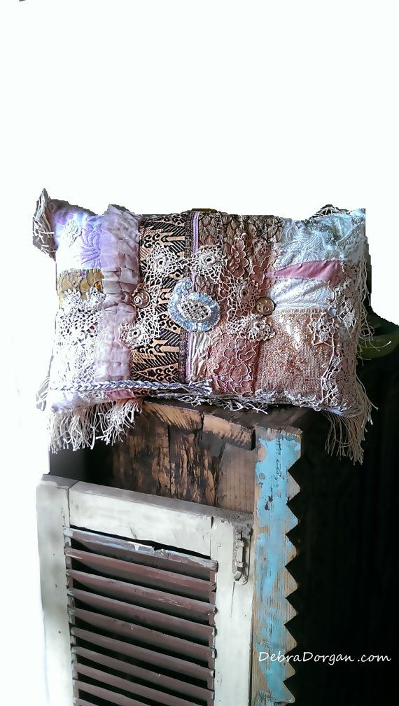 Boho Chic Pillow, Patchwork, Gold, Silver, Vintage Lace, Bohemian, Gypsy, Home Decor, Cushion, Vintage Fabric