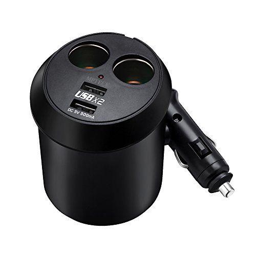 MPTECK @ Chargeur allume-cigare adaptateur de cigarette automatique répartiteur adaptateur chargeur universel avec 2 Prises de sortie et 2…