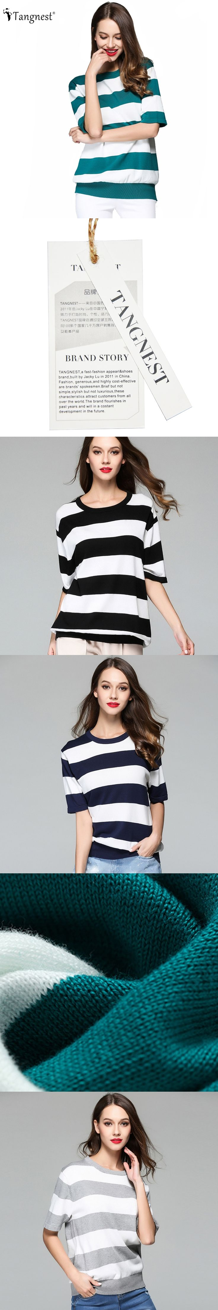 TANGNEST Women Striped Sweater 2017 Summer Autumn European Casual Little Loose Basic Knitted Pullover 4 Colors Pullovers WZL1385