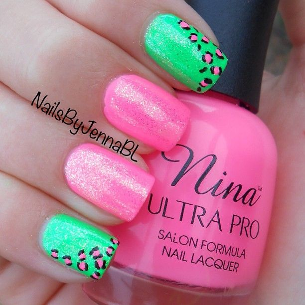Bright glitter neon Pink and green nail art + animal print - Best 25+ Neon Green Nails Ideas On Pinterest Lime Green Nails