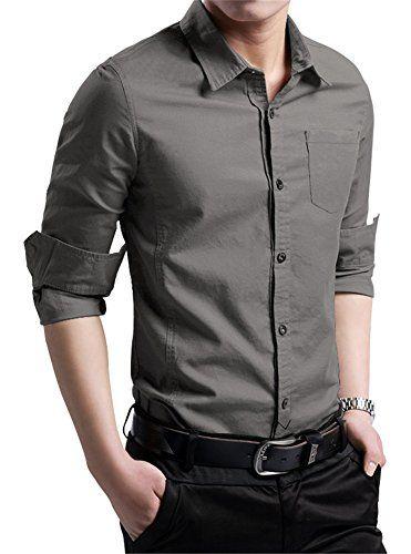 XTAPAN Men's Cotton Slim Fit Casual Long Sleeve Button Down Shirt Navy Gray 2XL