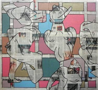"Saatchi Art Artist Matthew Dibble; Painting, ""Dream Machine"" #art (enamel and newsprint on canvas) 62x68"" 2016"