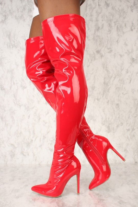 41d4c161d1a4 Sexy Red Pointy Toe Thigh High Boots Patent  Kylie Inspired ...