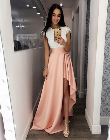 scoop hi-lo cap sleeves cheap prom dress, PD6850