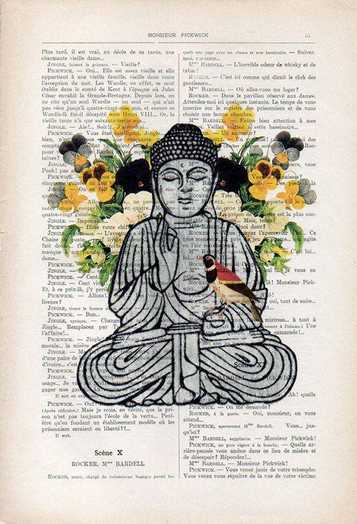 Boeddha met viooltje achtergrond mediteren met een vogel.  Originele Print op antieke pagina van 1900.  De echte antieke papier, die ik gebruik komt uit de jaren 1900 originele antieke Franse boekenpagina.  De pagina is ongeveer 7,5 x 11.4(19 x 29 cm).  Elke creatie is uniek, ontvangt u de vergelijkbare afbeelding maar op een andere pagina van het antieke papier met inbegrip van de tekenen van de schoonheid door de tijd (vlekken, hoek bochten, ongelijke prenten, enz.). Uw art print zal…