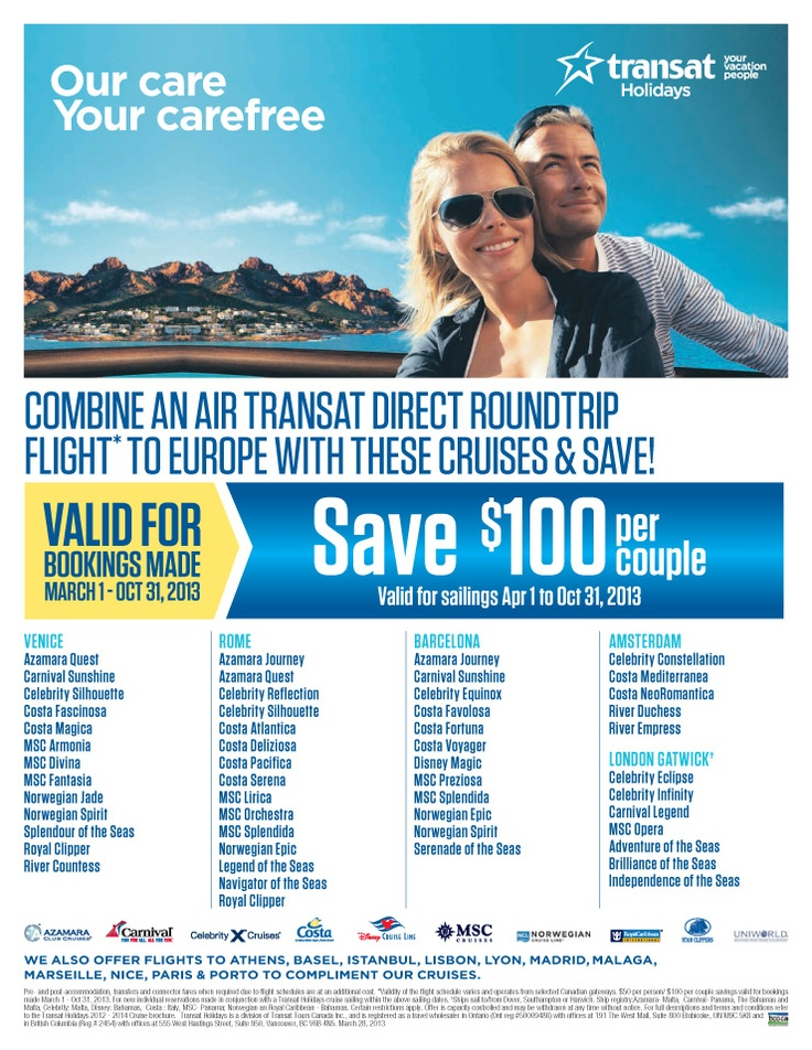 Combine a direct roundtrip flight to Europe with the following cruises and save! - National Departures | Featured Special | Centre Holidays