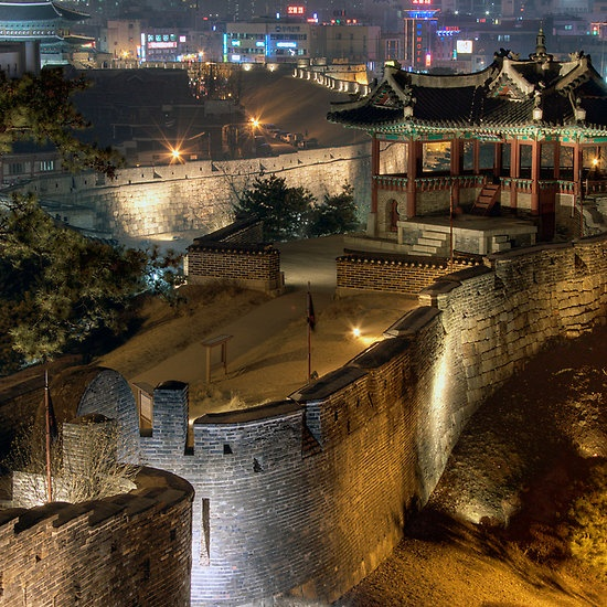 Hwaseong Fortress in Suwon, Korea  I hiked up to this my first time in Korea, up what felt like a thousand irregular stairs.