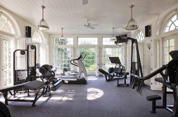 home gym, hey, did someone sneak in and copy our gym? Although I don't see the sauna . Hah!!