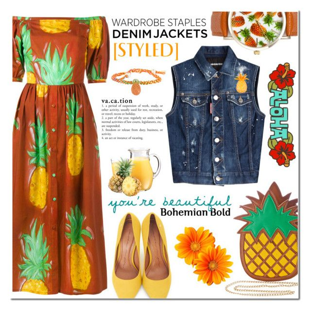 """""""D e n i m Jacket - C r u s h e d Pineapple"""" by nonniekiss ❤ liked on Polyvore featuring Tata Naka, Nila Anthony, A Classic Time Watch Co., Dsquared2, Moda In Pelle, Isabel Canovas and Venessa Arizaga"""