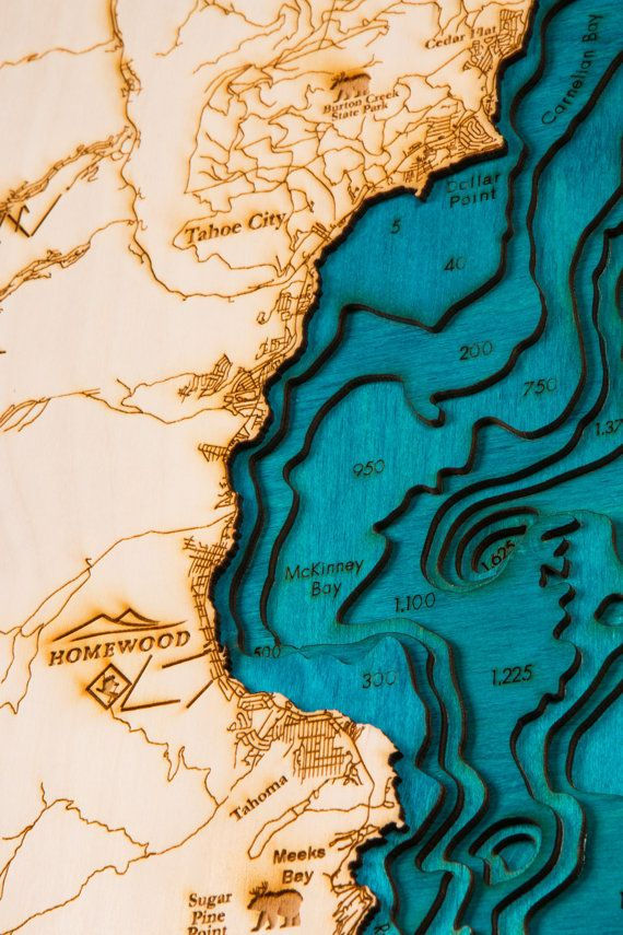Large Lake Tahoe 3-D Map Highly detailed by TahoeWoodMaps3D