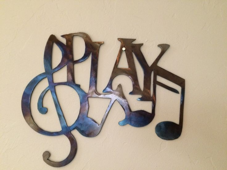 Play W/Music Notes Metal Wall Art Decor, 12 X 9 Part 44