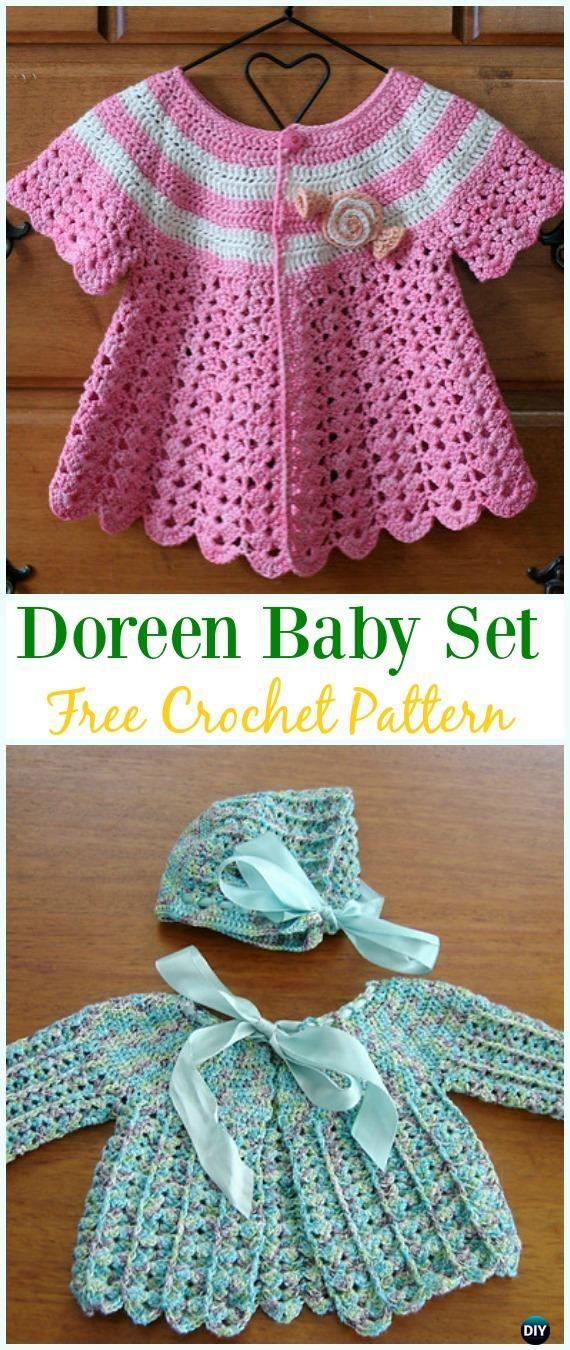 Crochet Doreen Baby Cardigan Hat Set Free Pattern - Crochet Kid's Sweater Coat Free Patterns