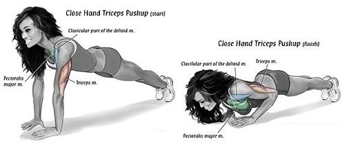 close grip push ups for your triceps to firm up the back of your flabby arms and it will also firm up your chest for bigger breast