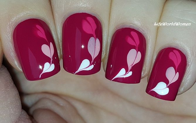 Dark #Pink #Marble #Heart #Nailart For #Valentinesday