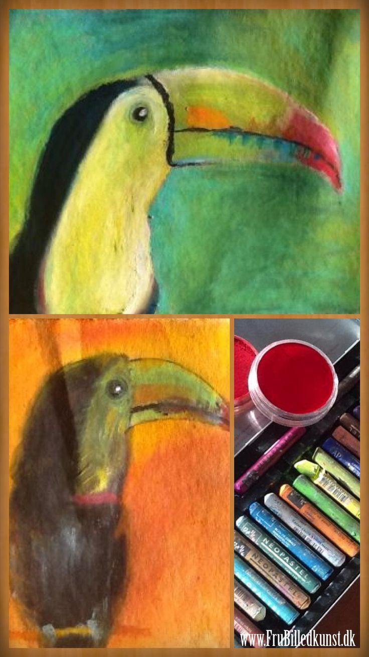 Et lille kik fra forberedelsen - jeg fik min ene datter til at hjælpe :-) Fuglene er malet med Neopastel fra Caran d'ache. Den grønne baggrund er også malet med Neopastel, mens den anden har PanPas...