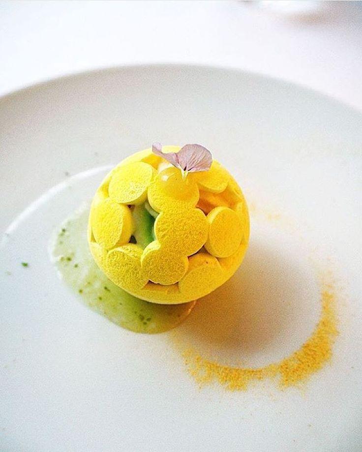 Mont blanc vacherin with yuzu at restaurant Kei, Paris 1.