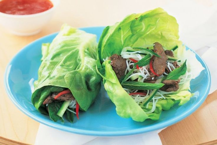Wrap Vietnamese-style beef noodles in lettuce leaves for a quick, easy and healthy midweek meal.