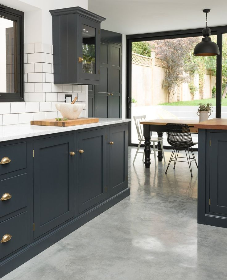 You Can Achieve Something Similar To This DeVOL Kitchen, With Virtuu0027s  Heritage Doors In Midnight Ocean.