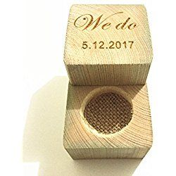 We Do Wedding Ring Box with Your Custom Date, Personalized Wedding Ring Box