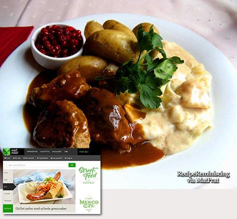 Meatballs In Brown Sauce With Creamed Cabbage Or Green Pea Puree / Kjøttkaker I Brun Saus Med Stuakål Eller Ertestuing - A traditional Norwegian recipe from the popular food site MatPrat  Image from lokalhistoriewiki.no very many Norwegian think about meatballs in brown sauce with either creamed cabbage or green pea puree as the most Norwegian dish of all. http://recipereminiscing.wordpress.com/