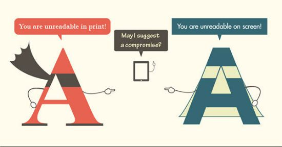 Infographic about the pro's and con's of serif versus sans typography