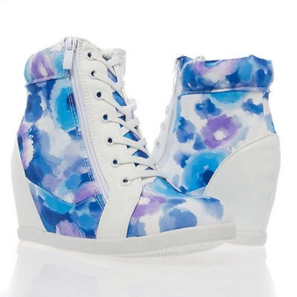 """NIB floral lace up hidden wedge sneakers size 5-10 Colorful and stylish, perfect for this summer. All man made material. Available in U.S. Size 5-10. 3"""" hidden wedge heel. Shoes Sneakers"""