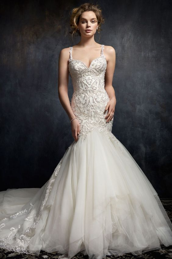 Kenneth Winston Style 1753 | trumpet style lace wedding dress with sweetheart neckline, beaded straps and textured skirt | luxurious bridal gown #weddingdress
