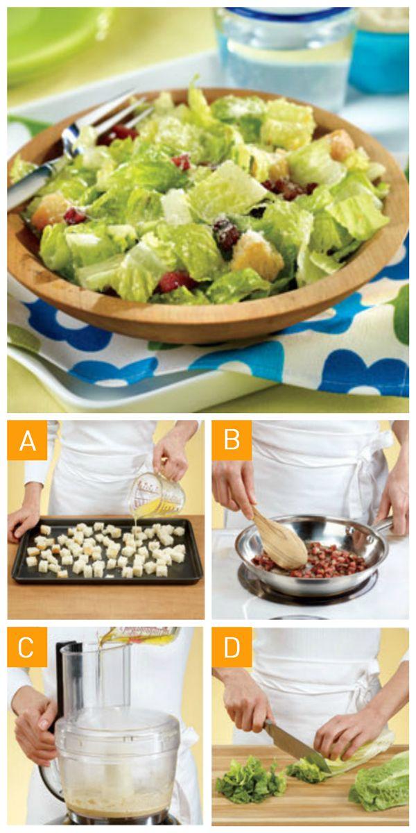 On vous propose aujourd'hui comment faire une vraie #salade #cesar en 4 étapes faciles! #recette