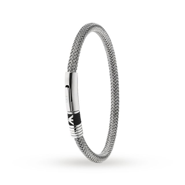 Emporio Armani Gents Steel and White Cord Bracelet #Jewellery