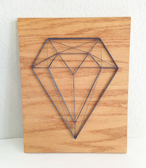 Geo Diamond String Art on Wood Charcoal Grey with par Academe, $65,00