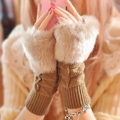 Women's Plaid Short Paragraph Warm Knitted Gloves – USD $ 2.99