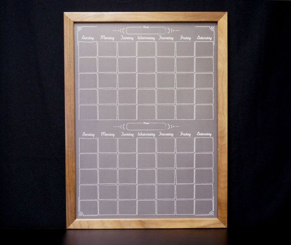 "Two Month Black ""Chalkboard"" Dry Erase Wall Calendar - available in our Etsy store now!"
