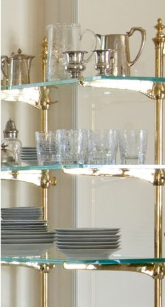 Glass shelves, Brass and Shelves for kitchen on Pinterest