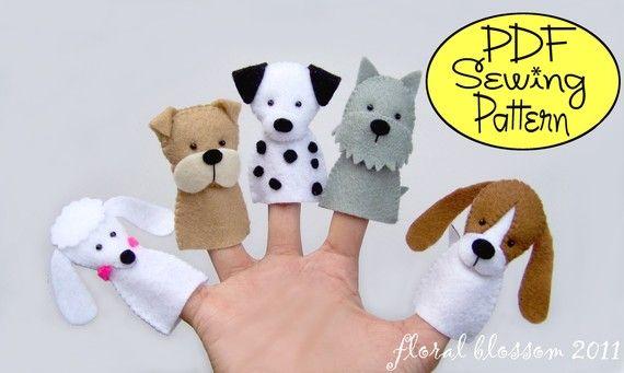 PDF Pattern: Dogs Felt Finger Puppets. I'd use ecofelt. #crafts #diy