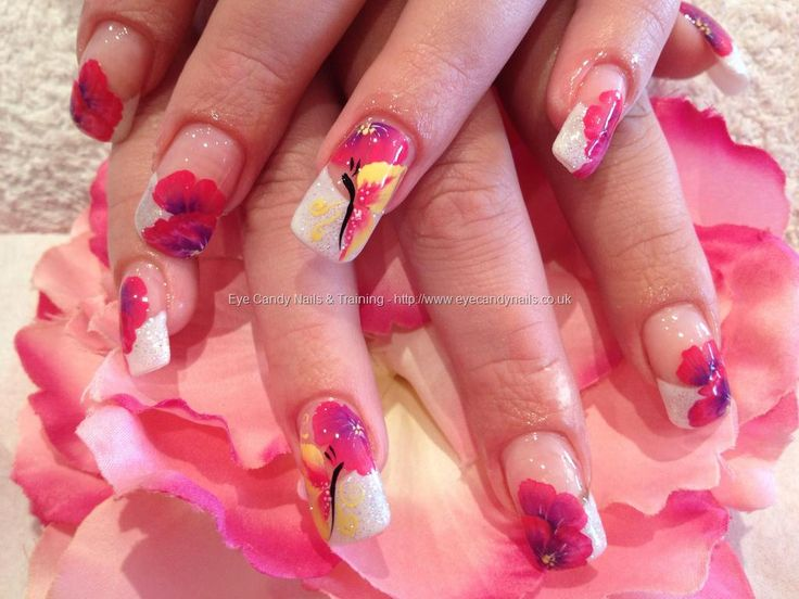 One stroke flowers and butterfly nail art
