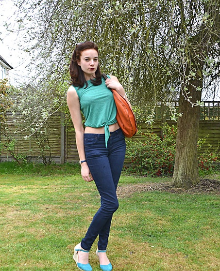 H top, Primark Jeans and Dune Wedges