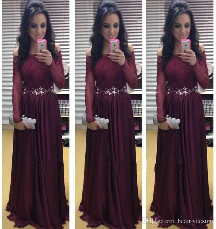2016 Fashion Burgundy A Line Chiffon Evening Dresses Formal With Long Sleeves Sexy Bateau Lace Appliques Prom Gowns Bo7291 With Sash Evening Dresses With Sleeves Evening Gowns Uk From Beautydesign, $157.93| Dhgate.Com