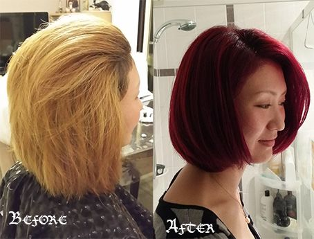 Bob cut with intensified magenta red colour before and after image, hairserenity