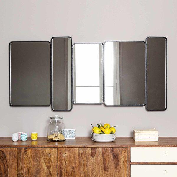 Espejo de metal negro Al. 71 cm ...