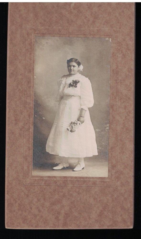 Chubby Teen Girl In Fancy White Dress C 1910 Confirmation Studio Photograph